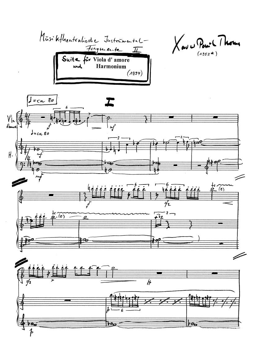 Manuskriptseite: xpt 94 Suite für Viola d' amore und Harmonium von Xaver Paul Thoma