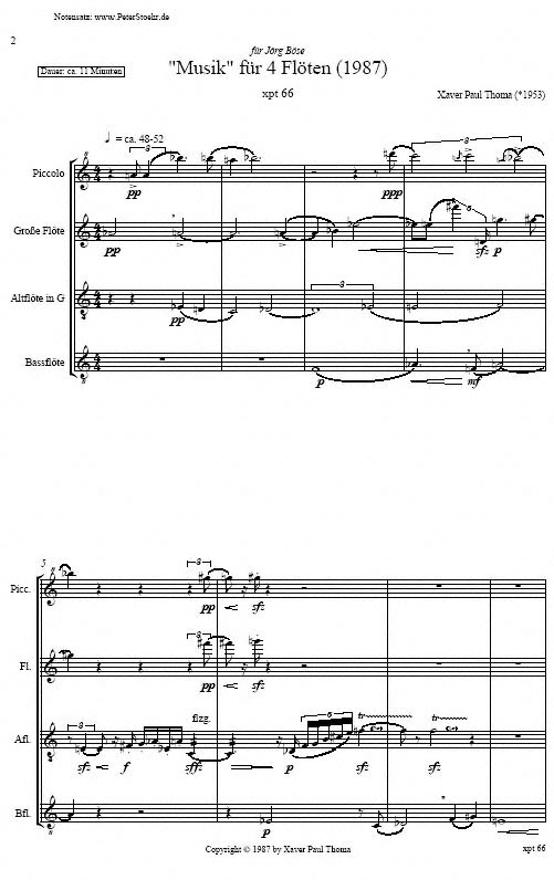 Partiturseite xpt 066. VIER FLÖTEN Piccolo, Alt- und Bassflöte von Xaver Paul Thoma