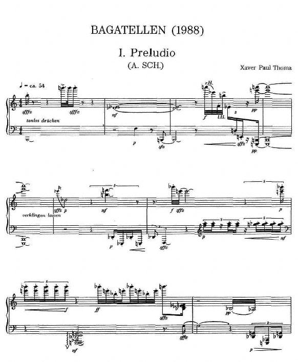 Partiturseite xpt 075. BAGATELLEN für Klavier von Xaver Paul Thoma