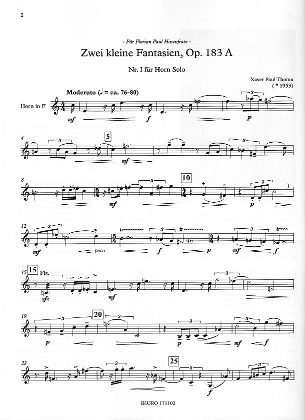 Partiturseite: xpt 183A Nr.I zwei kleine Fantasien, Horn solo von Xaver Paul Thoma