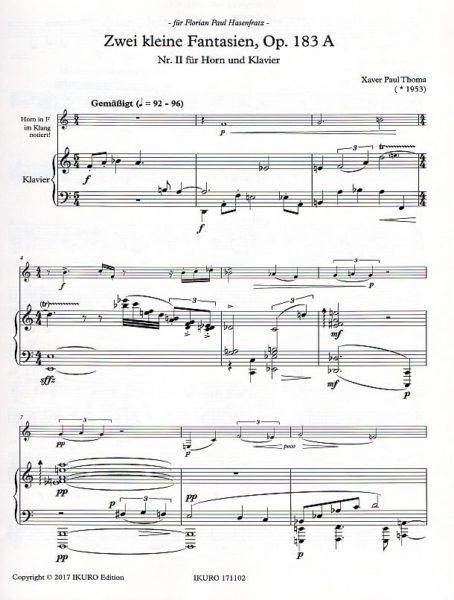 Partiturseite: xpt 183A Nr.II zwei kleine Fantasien, Horn und Klavier von Xaver Paul Thoma