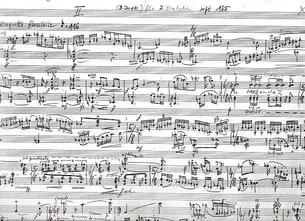 Ausschnitt der Handschrift: xpt 185 - Drei Duos für zwei Bratschen von Xaver Paul Thoma