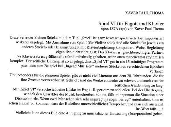 Werkkommentar zu xpt 187 – Spiel VI für Fagott und Klavier von Xaver Paul Thoma