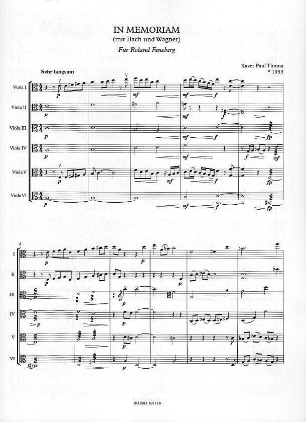 Partiturseite: xpt 188 - In memoriam für 6 Bratschen von Xaver Paul Thoma
