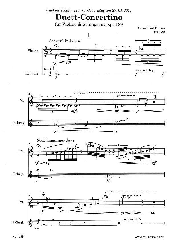 Partiturseite: xpt 189 - Duett Concertino für Violine und Schlagzeug von Xaver Paul Thoma