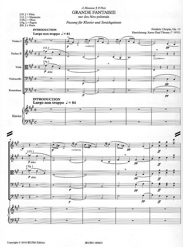 Partiturseite 1: xpt 190 - GRANDE FANTAISIE für Klavier und Streichquintett von Xaver Paul Thoma
