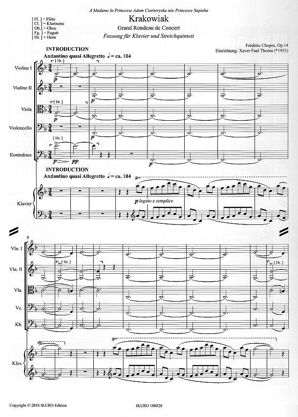 Partiturseite: xpt 190B - Krakowiak für Klavier und Streichquintett von Xaver Paul Thoma