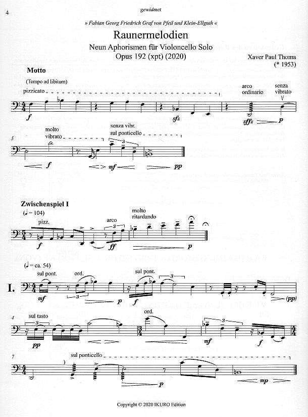 Noten Seite 4: xpt 192 - Raunermelodien für Violoncello solo von Xaver Paul Thoma