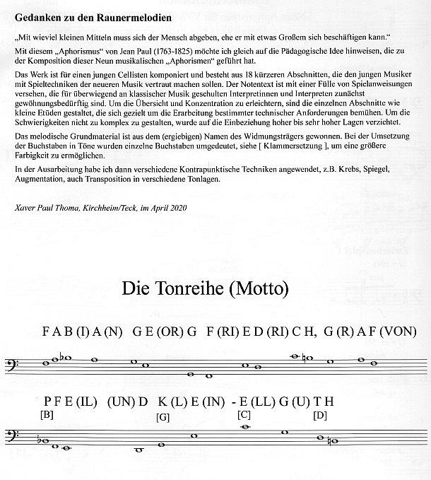 Wekkommentar: xpt 192 - Raunermelodien für Violoncello solo von Xaver Paul Thoma