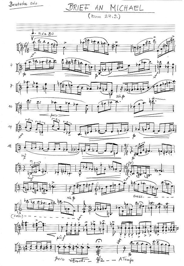 Manuskriptseite: xpt 193 - Briefe an ... 25 Fantasien für Bratsche solo von Xaver Paul Thoma