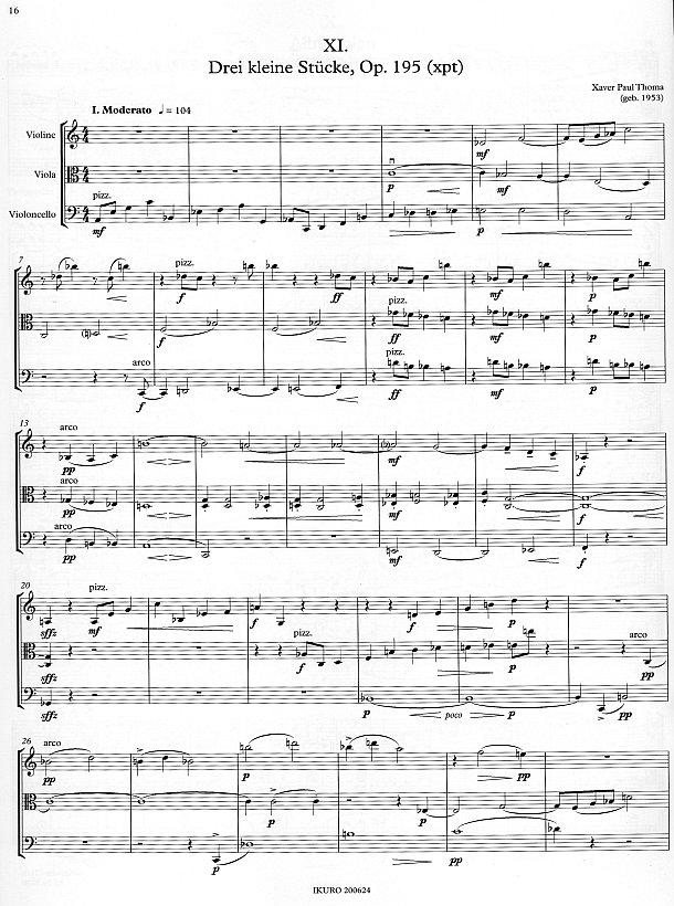 Partiturseite: Drei kleine Stücke für Streichtrio von Xaver Paul Thoma