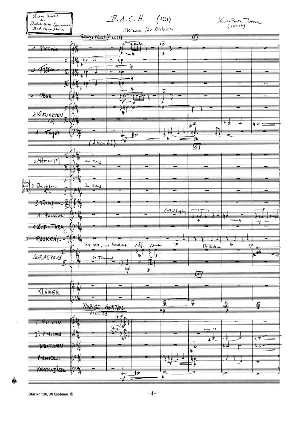 Manuskriptseite: B. A. C. H. - SKIZZE FÜR ORCHESTER von Xaver Paul Thoma